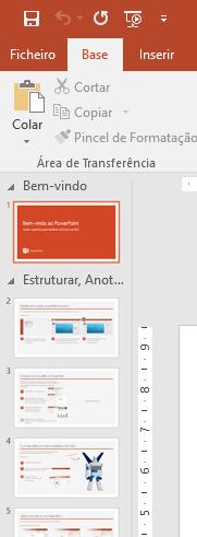 O painel de diapositivos