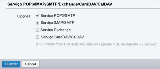 Selecione POP3/SMTP e IMAP/SMTP.