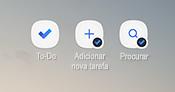 Captura de ecrã a mostrar os atalhos de ecrã principal do Android para a aplicação to-do, Adicionar nova tarefa e procurar