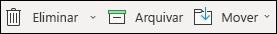 Os itens do menu eliminar e arquivo