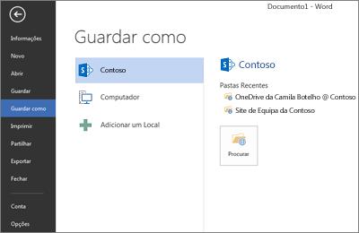 Ecrã Guardar a mostrar o OneDrive para Empresas e o site do SharePoint adicionados como um Local
