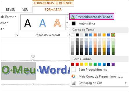 Galeria de Cores de Preenchimento do Texto localizada no separador Formatar das Ferramentas de Desenho