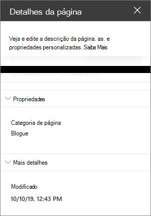 Painel de detalhes da página com categoria de página do blogue