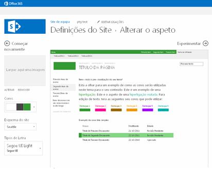 Exemplo do ecrã utilizado para alterar o tipo de letra, cor e esquema do seu site