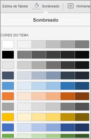 Opções de sombreado de tabela do iPad