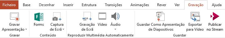 Apresenta o separador Gravação no friso no PowerPoint 2016