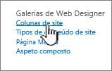 Opção de coluna de site na página de definições do site