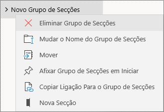 Eliminar grupos de secções na aplicação OneNote para Windows 10