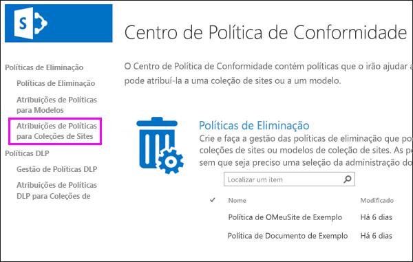 Ligação de atribuições de políticas de coleções de sites