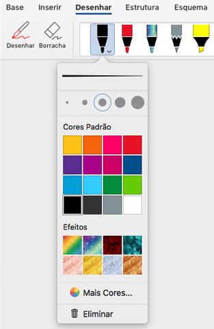Opções de cor e espessura de uma caneta na galeria de canetas do Office no separador Desenhar