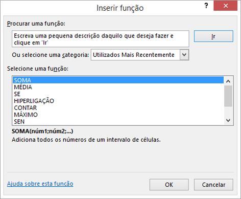 caixa de diálogo inserir função