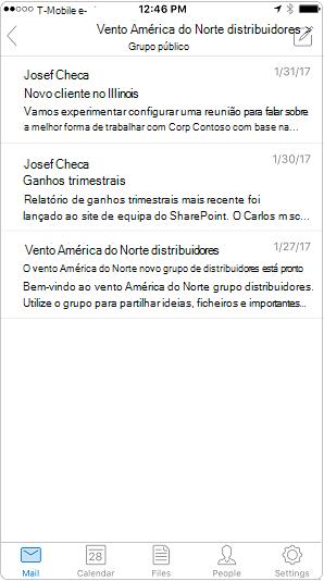 Vista de conversação na aplicação móvel do Outlook