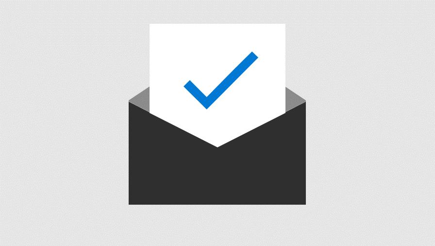 Ilustração de papel com uma marca de verificação parcialmente inserida num envelope. Representa protecção de segurança avançadas para anexos de e-mail e as ligações.