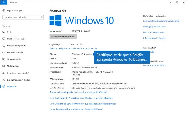 Verifique se a edição do Windows é o Windows 10 Business.