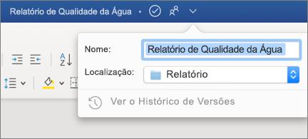 Menu pendente na barra de título a mostrar um nome e localização de ficheiro