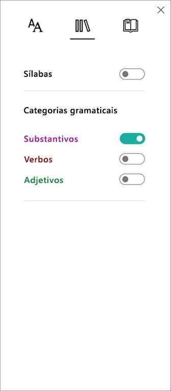 Menu Categorias Gramaticais na Leitura Avançada, parte das Ferramentas de Aprendizagem para OneNote.