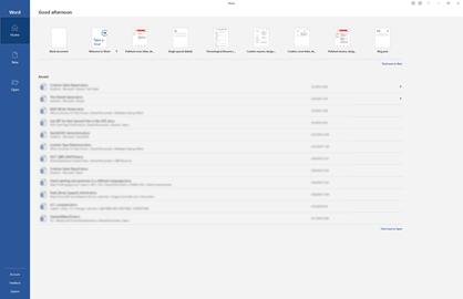 O novo ecrã inicial no Word para o Office 365