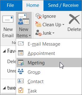 Para agendar uma reunião, no separador base, no grupo novo, selecione novos itens e, em seguida, reunião.