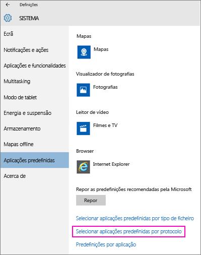 Captura de ecrã da definição Configurar Predefinições por Aplicação no Windows 10.