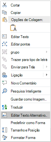 Menu editar texto alternativo do PowerPoint do PowerPoint para formas