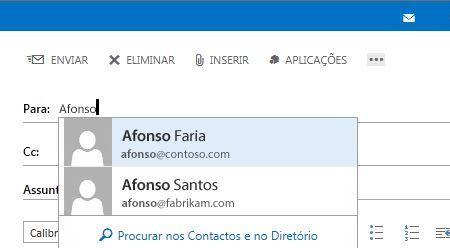 Lista de Conclusão Automática do Outlook Web App