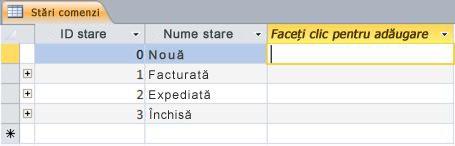 Faceți clic pentru adăugare în vizualizarea Foaie de date