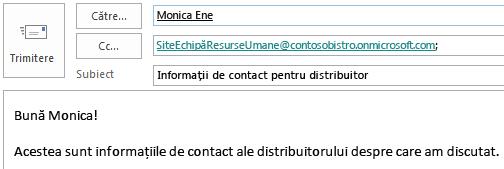 Mesaj de e-mail având cutia poștală de site inclusă în câmpul CC.