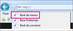 Afișarea barei de meniuri în Internet Explorer