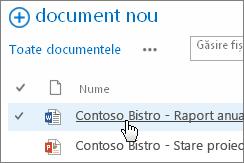 Faceți clic pe un document pentru a-l deschide