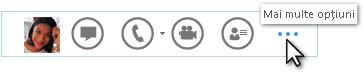 Captură de ecran a meniului rapid Lync afișând Mai multe opțiuni