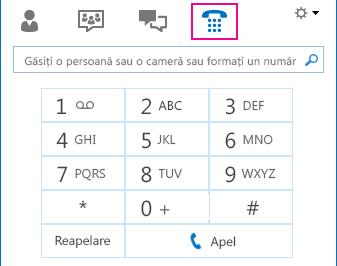Captură de ecran a pictogramei Telefon afișând tastatura telefonică care se poate utiliza pentru apeluri