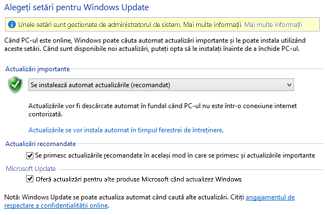 Setările Windows Update din Panoul de control Windows 8
