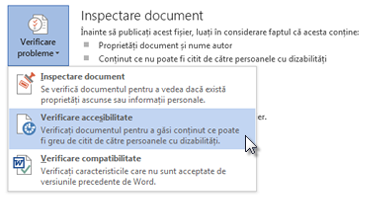 Comanda Verificare accesibilitate din Word 2013