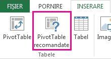 Butonul Diagrame PivotTable recomandate din fila Inserare