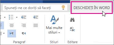 Deschidere în Word în vizualizarea Editare din Word Online