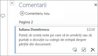 Comentarii cu fire în Word Online