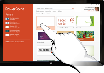 PowerPoint pe dispozitivele tactile