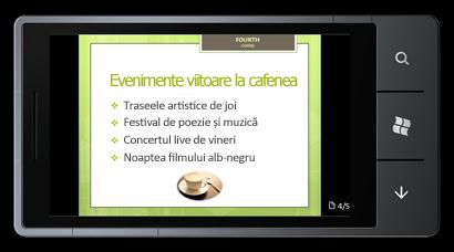 PowerPoint Mobile 2010 pentru Windows Phone 7: Editarea și vizualizarea de pe telefon