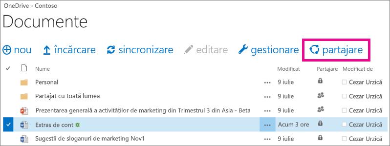 Partajarea unui fișier din biblioteca OneDrive pentru business
