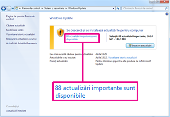 Linkuri în panoul Windows Update