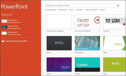 Ecranul de start PowerPoint 2013
