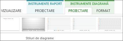 Grupul Stiluri de diagrame din fila Instrumente diagramă, Proiectare