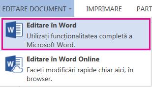 Captură de ecran Word Online cu opțiunea Editare în Word selectată