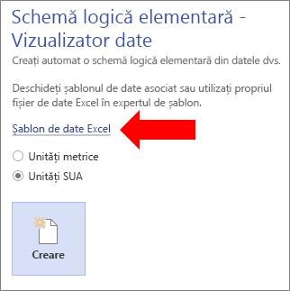 Selectarea linkului Șablon de date Excel