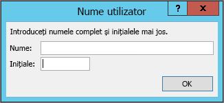 Caseta de dialog nume utilizator