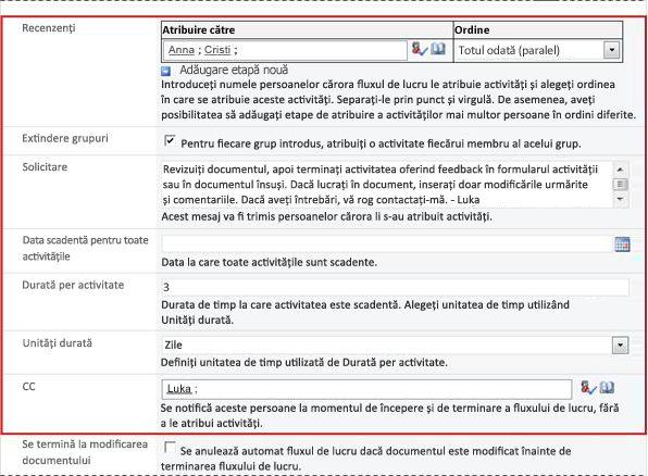 A doua pagină a formularului de asociere, cu câmpurile formularului de inițializare identificate