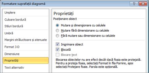 Fila proprietăți în Formatare suprafață diagramă