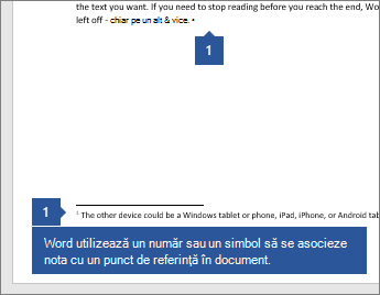 Word utilizează un număr sau un simbol pentru a asocia nota cu un punct de referință din document