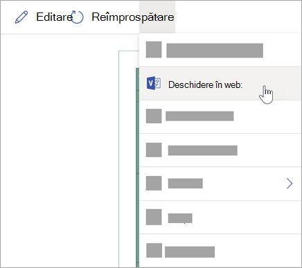 Selectați punctele de suspensie (...) pentru mai multe opțiuni, apoi selectați Deschidere pe web.