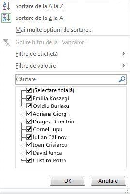 Opțiuni de filtrare și sortare pentru un raport PivotChart